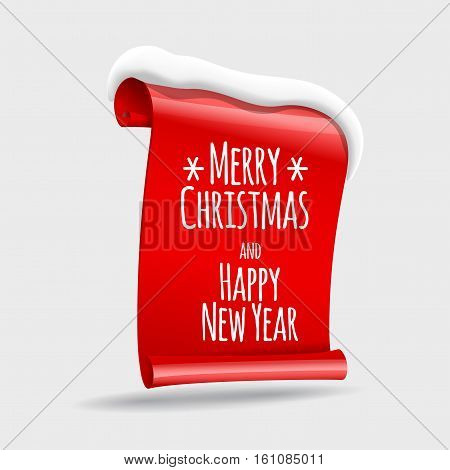 realistic Red paper banners wit snow. Merry Christmas. Vector illustration.