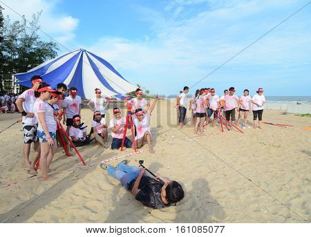 People Playing A Team Sport Game