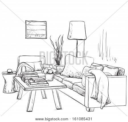 Modern interior room sketch. Hand drawn fireplace and furniture.