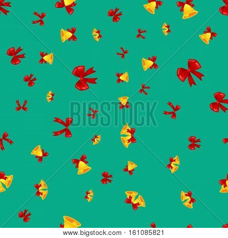 texture of golden Christmas decoration bells with cartoon red bow, jingle bells seamless pattern foe winter holiday vector illustration, xmas background.