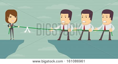 A businesswoman in tug of war with a group of male coworkers, vector illustration
