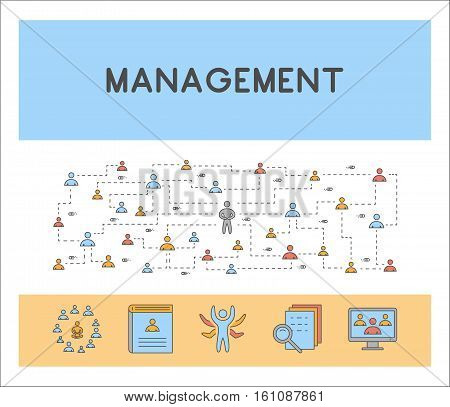 Vector line web concept for management. Linear horizontal banner for administration.