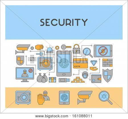 Vector line design concept web banner for internet security. Modern linear horizontal banner for cyber security. Outline creative style icon.