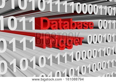 Database trigger in the form of binary code, 3D illustration