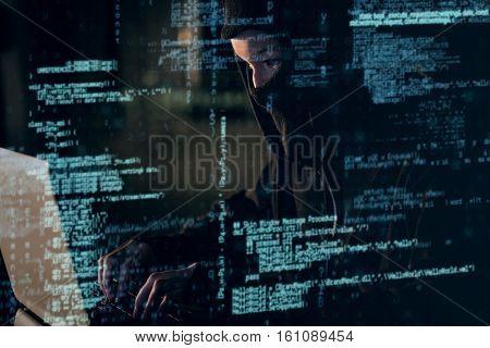 Woman in balaclava using laptop in office 3D