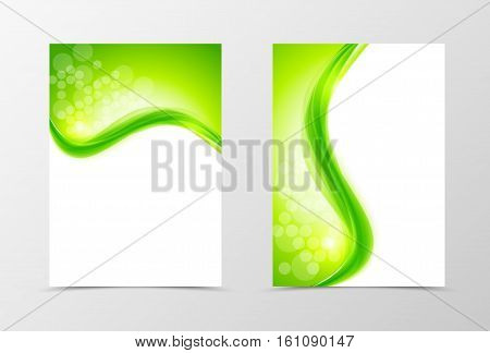 Front and back natural flyer template design. Abstract template with green lines and transparent circles in wavy style. Vector illustration