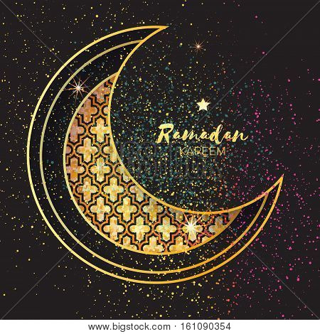 Golden Festive Ramadan crescent moon, stars. Greeting card, invitation for muslim holly month Ramadan Kareem. Vector illustration