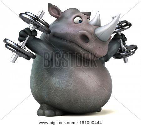 Fun rhino - 3D Illustration