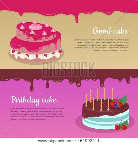 Good cake. Birthday cake. Cake with raspberry and candlesticks. Birthday or wedding cake , chocolate dessert cookies, raspberry and chocolate, food sweet pie with, cream and fruit vector illustration