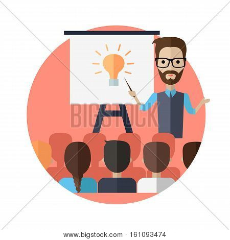 Successful young man with glasses making a presentation near whiteboard with infographics before an audience. Coaching and shows business charts and graphs. Business seminar.