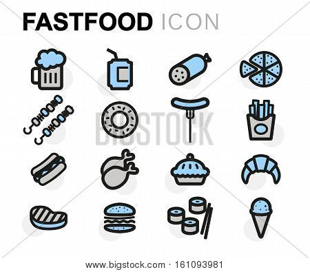 Vector flat fastfood icons set on white background