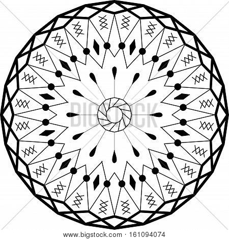 Outline mandala circular ornament. Intricate pattern. Web design element isolated on white background. Adult anti stress coloring book page. Vector illustration
