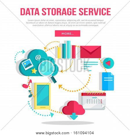 Data storage service banner. Networking communication and data icons on white background. Data protection, global storage and online cloud storage, security and privacy, backup, cloud computing.