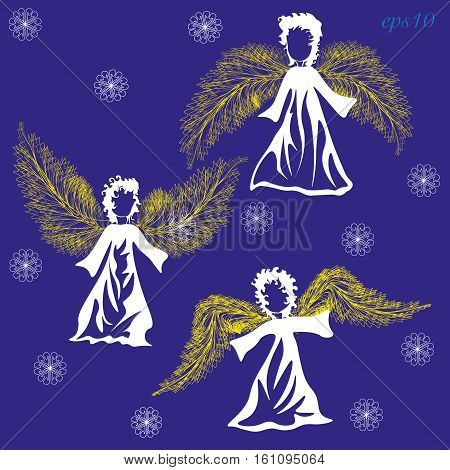 White angel and snowflake Christmas Holiday Set of three abstract wings wings of the object being curly hairstyle author design handmade pattern eps10 vector illustration Stock