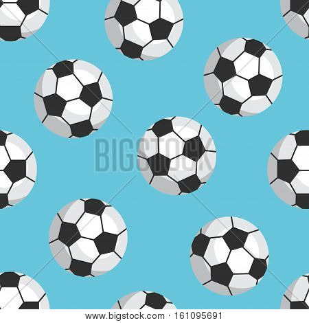Seamless Football Pattern. Balls On A Blue Background