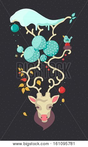 Christmas deer.Hand Drawn Vector Illustration. Deer antlers snow and hanging Christmas decorations.All the seasons are on the horns of a deer