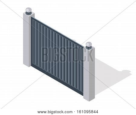 Iron fence with brick columns isolated on white. Gate with wicket in flat style design. Isometric projection. Metal gates, wrought iron, lattice gates and fences for yard. Vector illustration