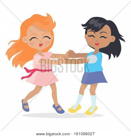 Girls singing and dancing in ring isolated on white. Adorable little girls have leisure time. School girls during break. Young ladies at playing playground in flat style. Daily activity. Vector