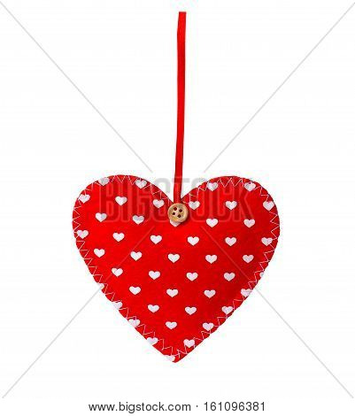 sewn heart isolated on white background. Valentine theme - red felt heart with thread. Valentine's day gift fabric heart. Decorative textile heart isolated on white