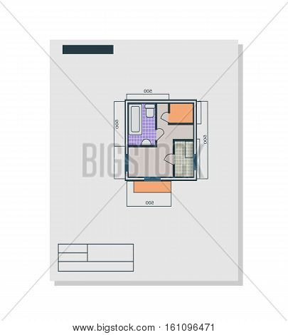 Apartments plan vector in flat style. Paper with drawing apartments with living room, bathroom, balcony. Illustration for design, building, real estate company ad. Isolated on white background.