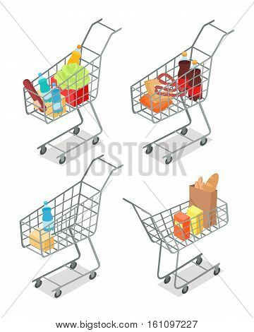 Set of trolleys with food. Supermarket equipment. Food products in shopping trolley flat style. Shopping cart icon, supermarket, food, product grocery and cart shopping, vegetable vector illustration