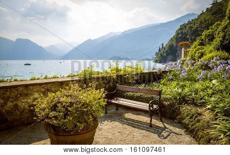 Panorama of lake Como in Lenno Italy