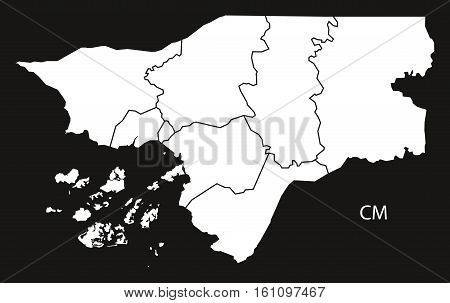 Guinea-bissau Regions Map Black And White Illustration