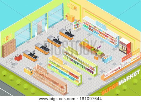 Supermarket departments interior. Bakery, juices, alcohol, fruits, vegetables, milk, meat and fish, cheese. 3d isometric shop. Empty supermarket with food in flat style Vector illustration
