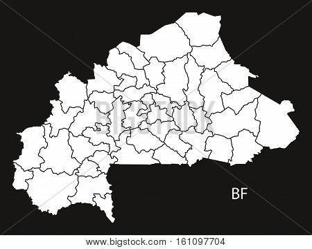 Burkina Faso Provinces Map Black And White Illustration