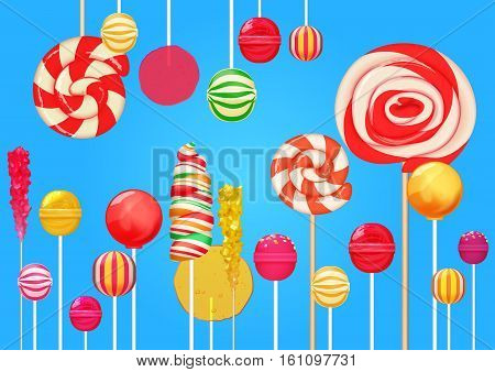 Bright blue sugar background with bright colorful lollipops candy sweets. Candy shop. Sweet color lollipop.