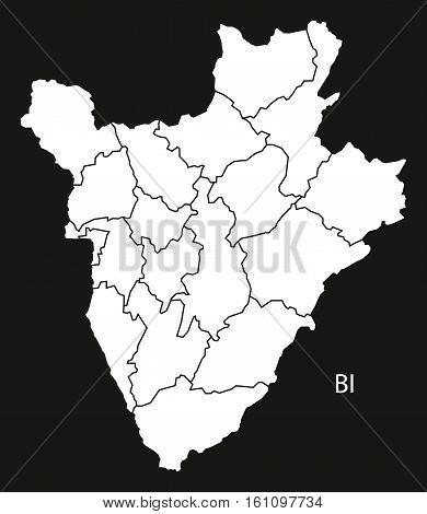 Burundi Provinces Map Black And White Illustration