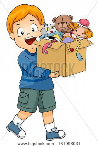 Illustration of a Smiling Little Boy Carrying a Box of Old Toys About to be Donated