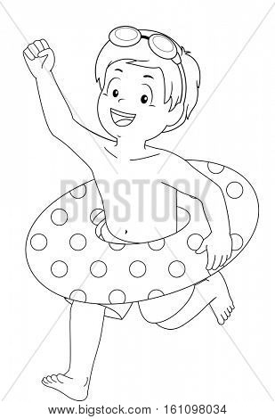 Coloring Page Illustration of a Little Boy with a Lifebuoy Around His Waist Running Excitedly