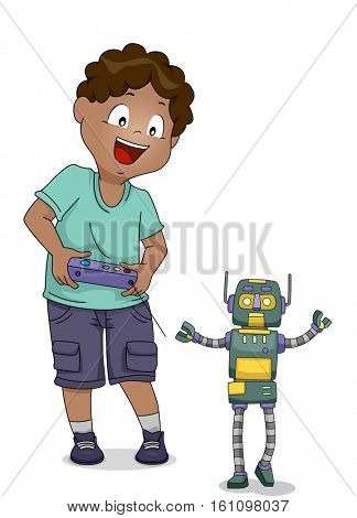 Illustration of a Little Boy Manipulating His Robotic Toy with a Remote Control