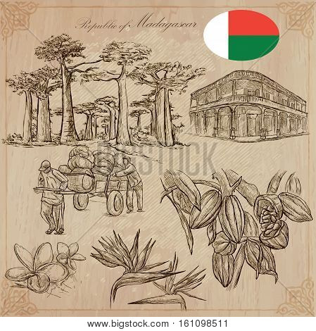 Travel MADAGASCAR. Pictures from the Life - and Nature - of one of the largest Island in the World. Vector collection. Hand drawn illustrations. Pack of freehand sketches.
