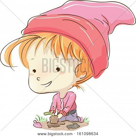 Whimsical Illustration of a Little Girl Dressed as a Gnome Planting Seedlings