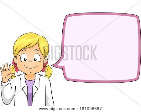 Illustration of a Little Girl in a White Laboratory Coat Waving Her Hand
