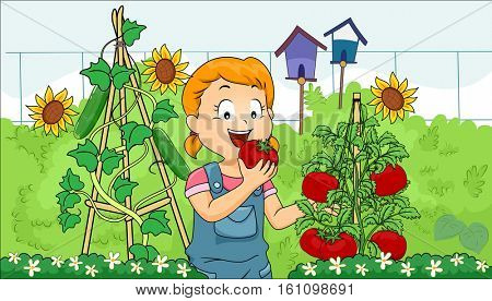 Illustration of a Little Girl Eating a Freshly Picked Tomato from Her Garden