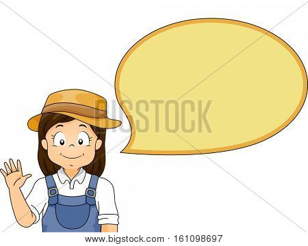 Illustration of a Little Girl in a Jumper and a Sun Hat Waving Her Hand