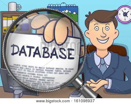 Database. Business Man Sitting in Office and Holds Out a through Magnifier Paper with Text. Colored Doodle Style Illustration.