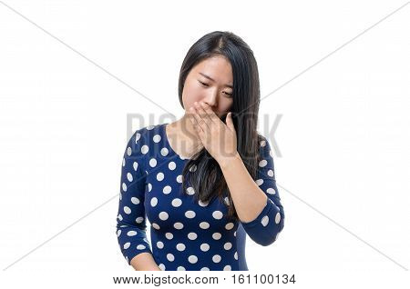 Polite Young Chinese Woman Coughing