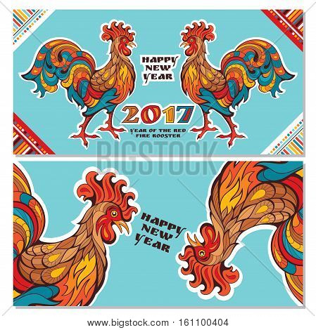 Chinese new year greeting cards with colorful roosters. Vector illustration