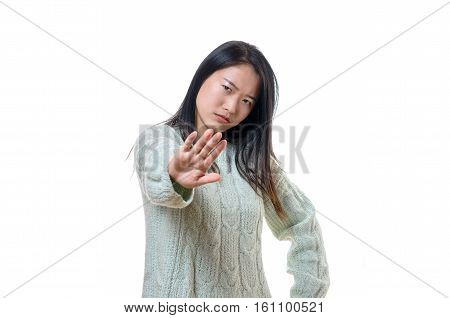 Angry Stern Young Woman Making A Halt Gesture