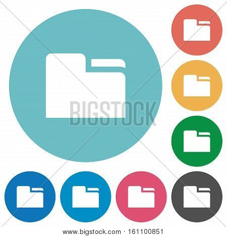 Tab folder white flat icons on color rounded square backgrounds