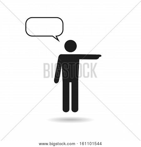 man black icon and speech bubble isolated on white