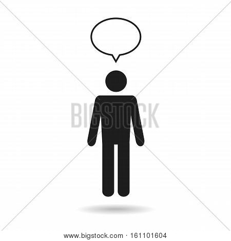 man icon with speech bubble isolated on white