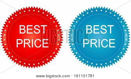 Red and blue best price buttons set