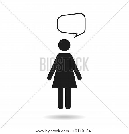 woman black icon and speech bubble isolated on white