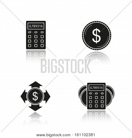 Banking and finance drop shadow black icons set. Calculator, us dollar coin, money spending, income calculations. Financial planning. Isolated vector illustrations