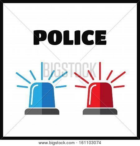 Siren set. Police flasher or ambulance flasher icons